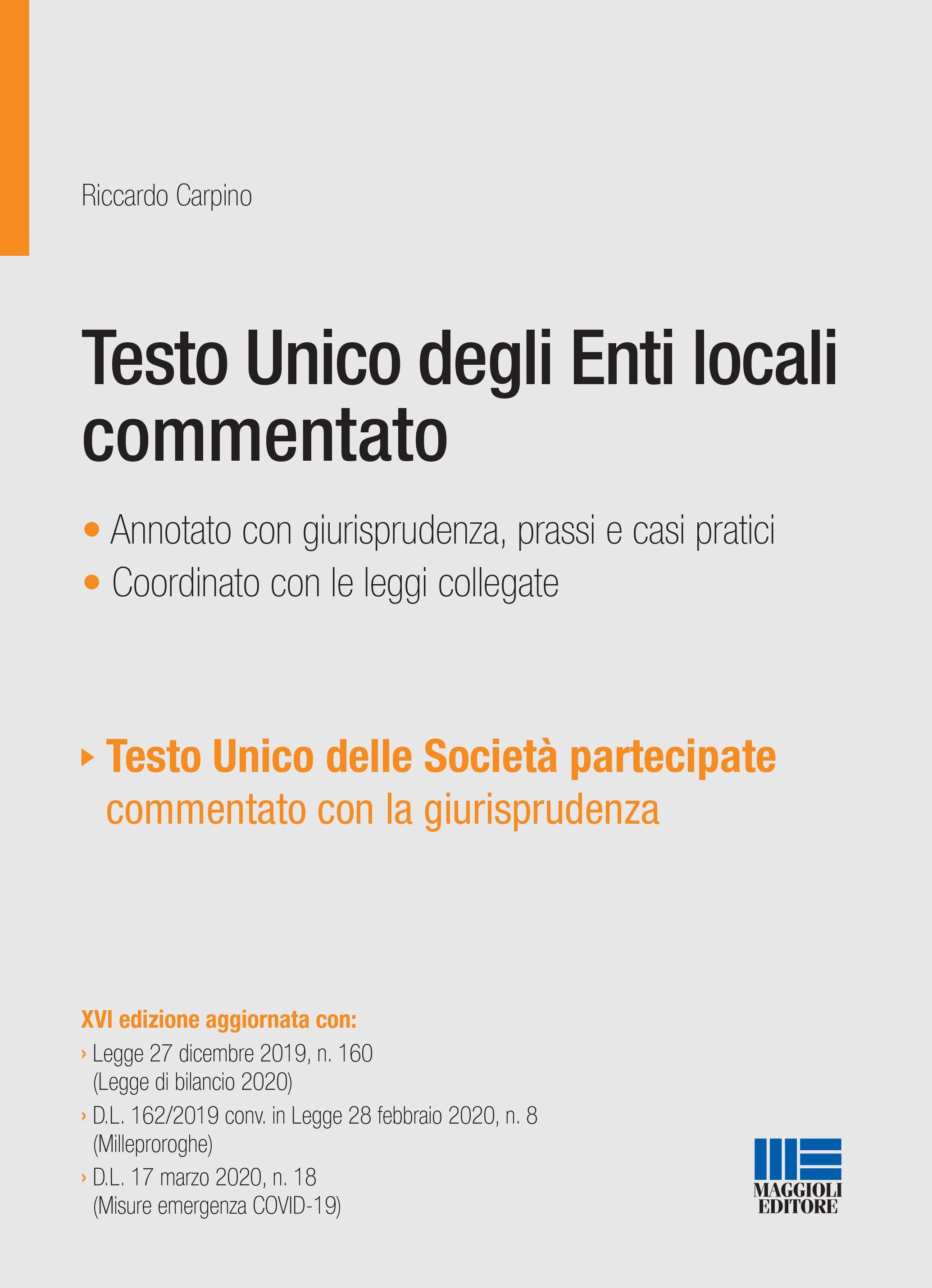 testo unico degli enti locali commentato - maggioli editore  maggioli editore